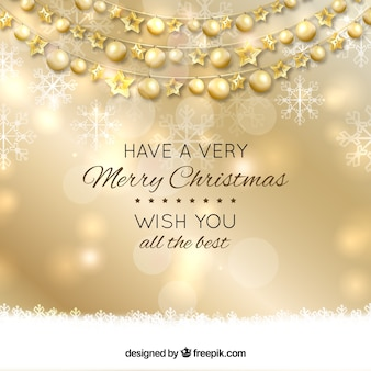 Fundo de ano novo com bolas douradas de Natal