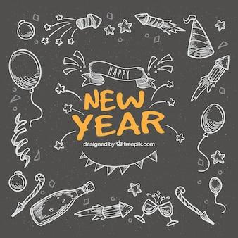 Fundo de ano novo com estilo de quadro-negro