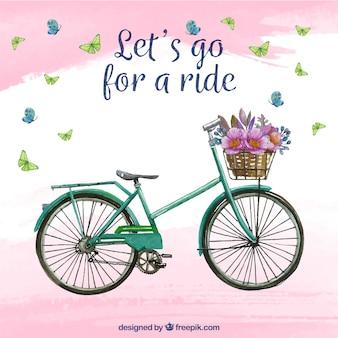Fundo de aquarela com bicicleta e flores