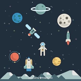 Fundo de astronauta com planetas em design plano