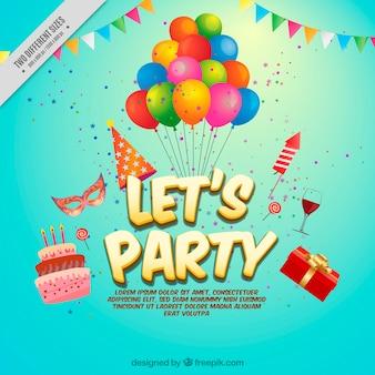Fundo de balões e elementos do partido