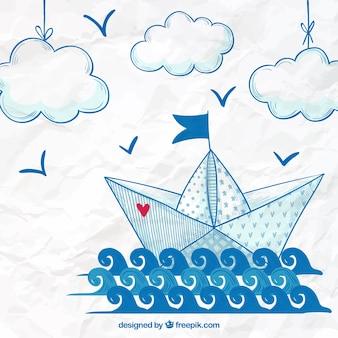 Fundo de barco de papel desenhado a mão
