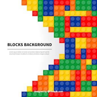Fundo de blocos coloridos em design plano