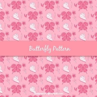 Fundo de borboletas desenhadas a mão cor-de-rosa