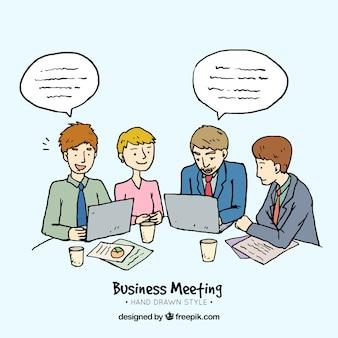 Fundo de caráteres desenhados mão em uma reunião de negócios