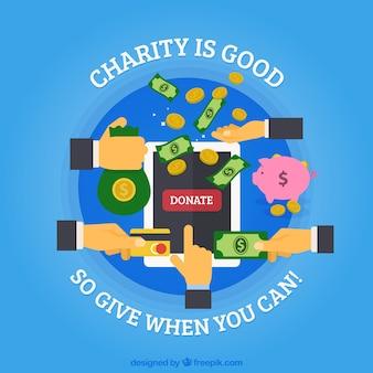 Fundo de caridade em design plano