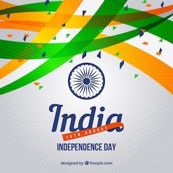 Fundo de celebração abstrata da independência da Índia com confetes
