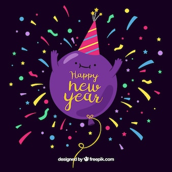 Fundo de celebração com bom balão de ano novo