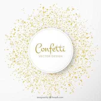 Fundo de celebração com confetes dourado