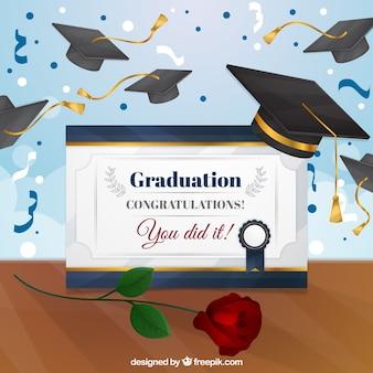 Fundo de celebração com diploma universitário