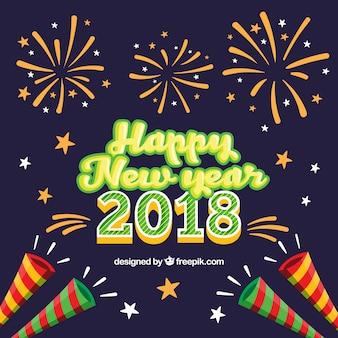 Fundo de celebração de ano novo com fogos de artifício