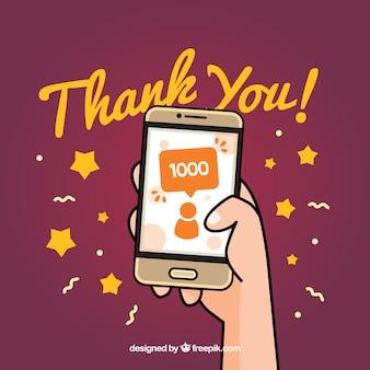 Fundo de celebração do seguidor 1k com o celular desenhado à mão