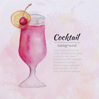 Fundo de cocktail de aquarela rosa
