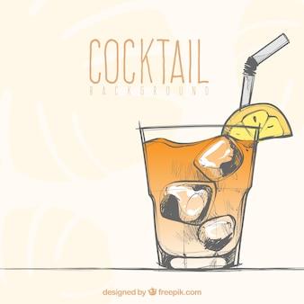 Fundo de cocktail desenhado a mão