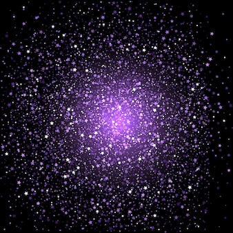 Fundo de confetes de estrelas roxas
