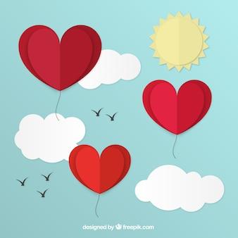 Fundo de corações balões no céu