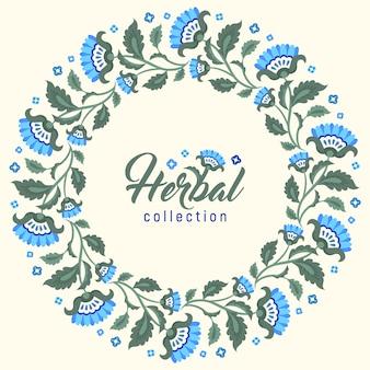 Fundo de coroa floral azul