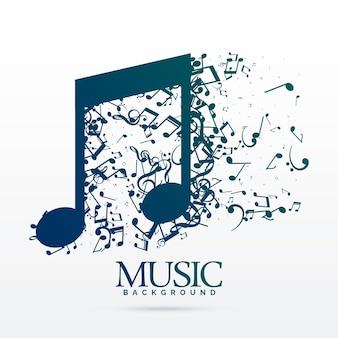 Fundo de design de notas de música abstratas