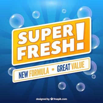 Fundo de detergente azul com bolhas