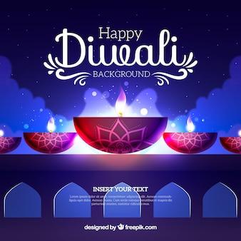 Fundo de Diwali com efeitos de luz