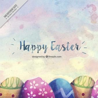 Fundo de Easter com ovos de aquarela