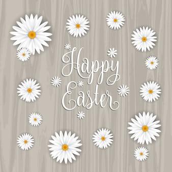 Fundo de Easter feliz com margaridas e uma textura de madeira