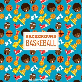 Fundo de elementos de basquete e troféus