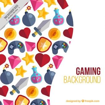 Fundo de elementos videogame planas