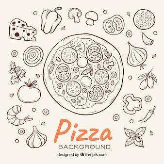 Fundo de esboço pizza e ingredientes