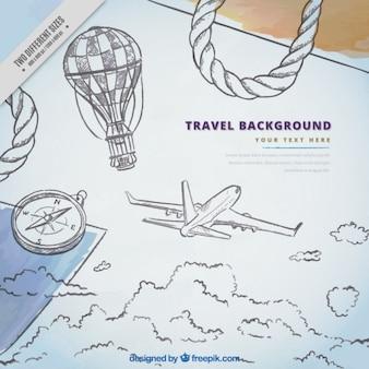 Fundo de esboços de avião e elementos de viagem