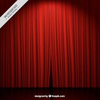 Fundo de estágio do teatro com cortinas vermelhas