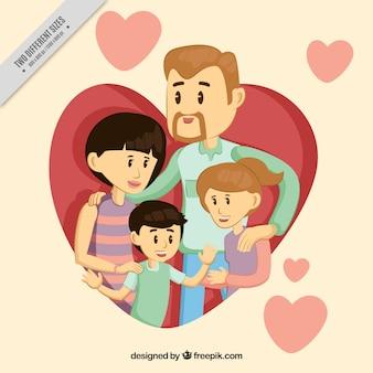 Fundo de família muito com as crianças e os corações
