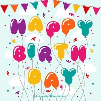 Fundo de feliz aniversário, balões e confetes coloridos