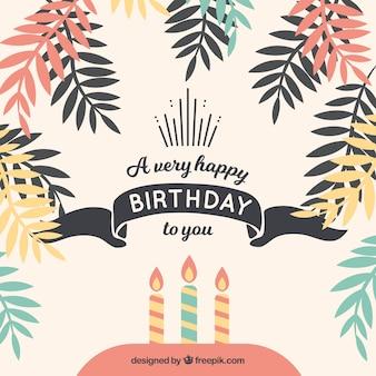 Fundo de feliz aniversario com folhas de palmeira