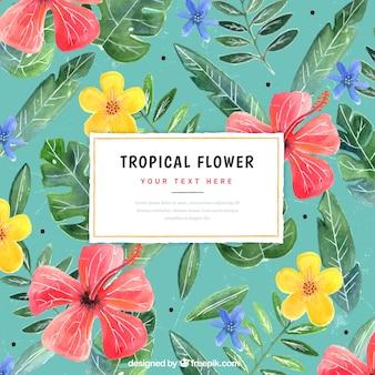 Fundo de flores exóticas e folhas de aguarela