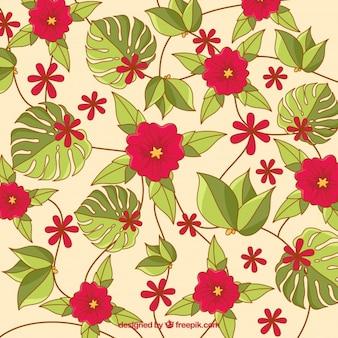 Fundo de flores vermelhas com folhas de palmeira