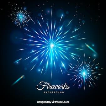 Fundo de fogos de artifício azuis em estilo realista