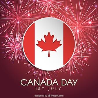 Fundo de fogos de artifício com bandeira do Canadá