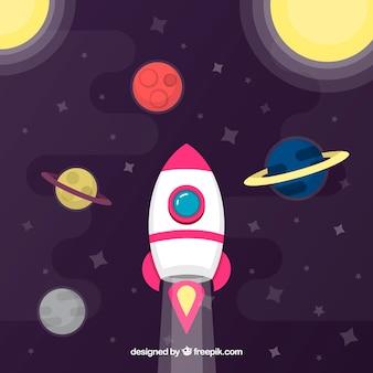 Fundo de foguetes com planetas