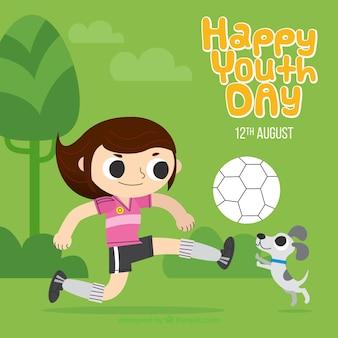 Fundo de garota jogando futebol com seu animal de estimação