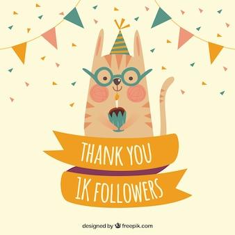 Fundo de gatinho com cupcake comemorando os seguidores de 1k