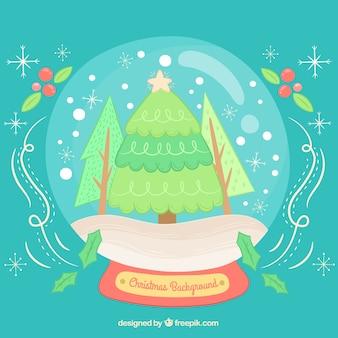Fundo de globo nevado com árvore de natal