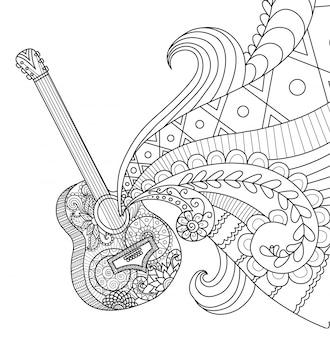 Fundo de guitarra desenhado à mão