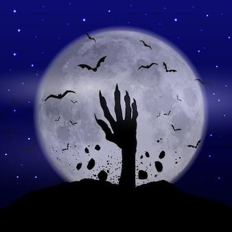 Fundo de Halloween com a mão zombie em erupção fora da terra
