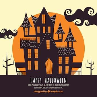 Fundo de Halloween com casa assombrada