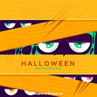 Fundo de Halloween com olhos zumbis