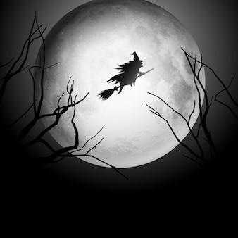 Fundo de Halloween com silhueta de uma bruxa voando no céu noturno