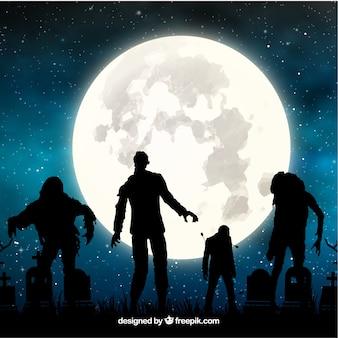 Fundo de Halloween com zumbis e lua cheia