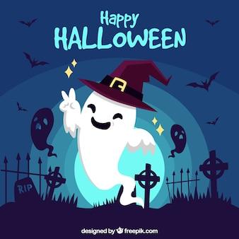 Fundo de Halloween feliz com fantasma engraçado