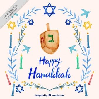 Fundo de Hanukkah com pião e velas
